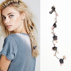 Free People navy floral suede braid in hair clip